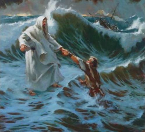 Péter a vizen